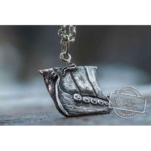 Viking Ship Pendant Sterling Silver Handmade Jewelry