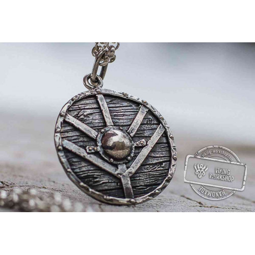 Lagertha's Shield Pendant Unique Sterling Silver Viking Necklace