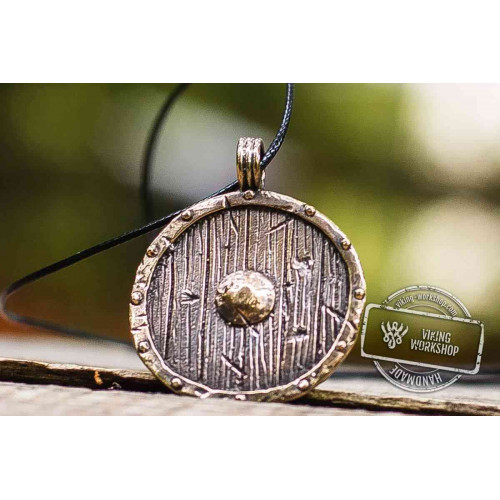 Old Viking Shield Bronze Norse Pendant
