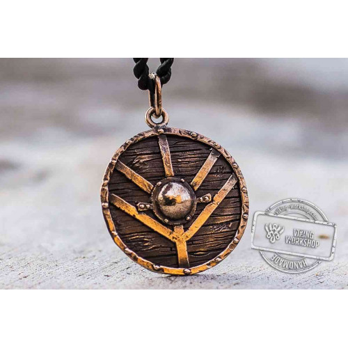 Lagertha's Shield Pendant Unique Bronze Viking Necklace