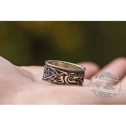 Wolf Ornament Ring Handmade Sterling Silver Viking Ring