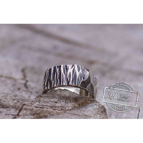 Wood and Stone Texture Ring Handmade Sterling Silver Viking Ring