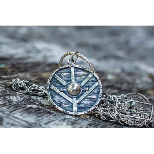 Set of Sterling Silver Viking Chain and Lagherta Shield Pendant