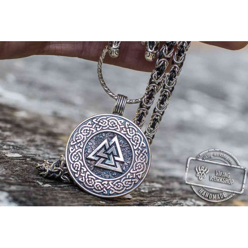 Set of Sterling Silver Viking Chain and Valknut Symbol with Viking Ornament Pendant