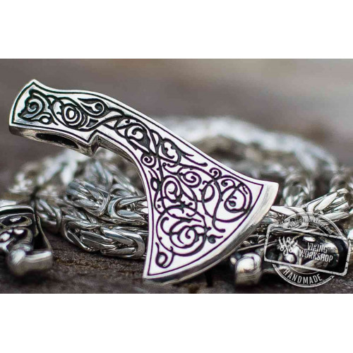 Set of Square Sterling Silver Viking Chain with Wolf Tips and Floral Ornament Axe Pendant