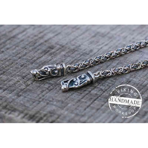 Viking Chain with Wolf Tips Sterling Silver Handmade Norse Jewelry