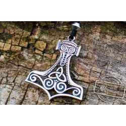 Thor's Hammer Pendant Sterling Silver Mjolnir With Ornament