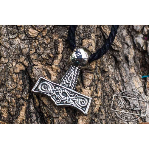 Thor's Hammer Pendant Sterling Silver Mjolnir with Beautiful Ornament