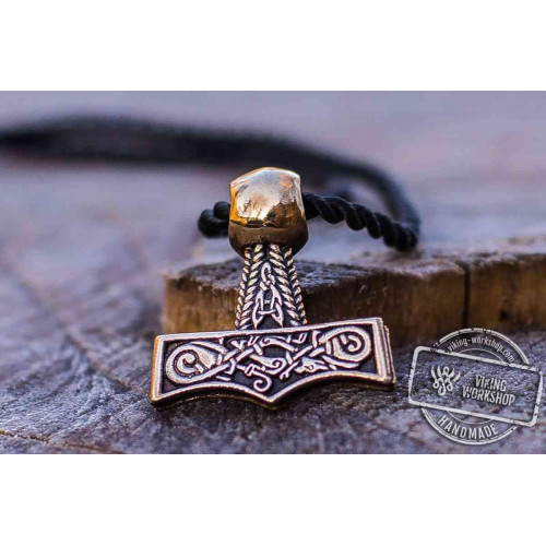 Thor's Hammer Pendant Bronze Mjolnir with Beautiful Ornament