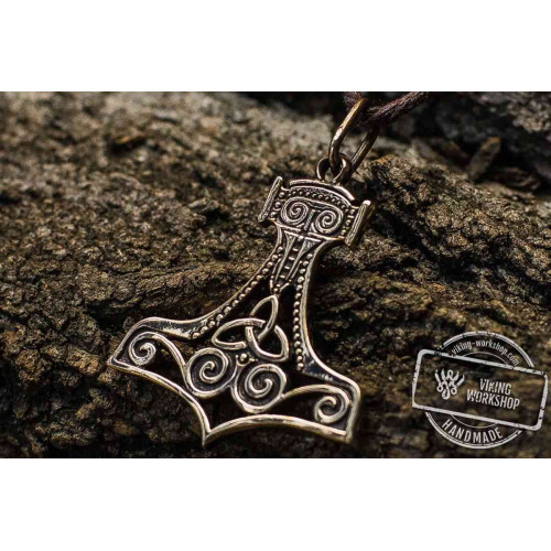 Thor's Hammer Pendant Bronze Mjolnir With Ornament