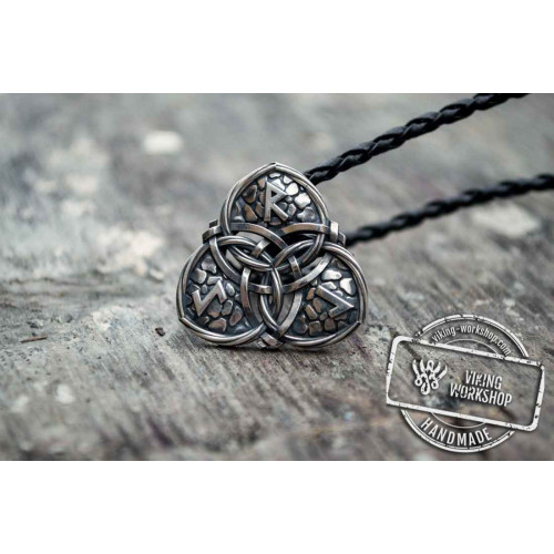 Triquetra Symbol with Runes Sterling Silver Celtic Pendant