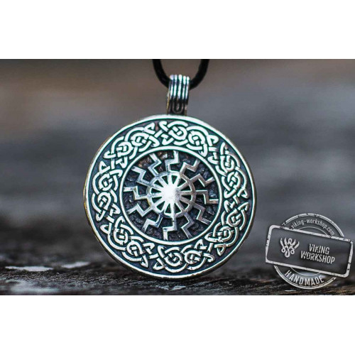 Black Sun with Viking Ornament Pendant Sterling Silver Viking Jewelry
