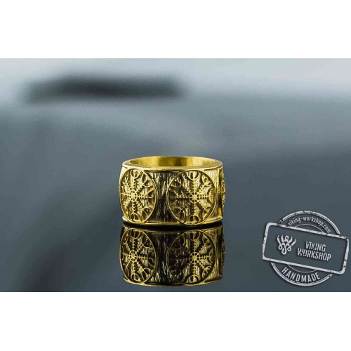 14K Gold Helm of Awe Norse Ring