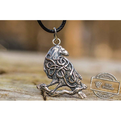 Raven Pendant with Ornament Sterling Silver Norse Amulet