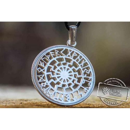 Black sun symbol with runic calendar sterling silver pendant black sun symbol with runic calendar sterling silver pendant aloadofball Gallery