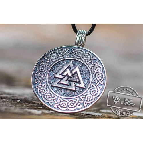 Valknut Symbol with Viking Ornament Pendant Sterling Silver Viking Jewelry