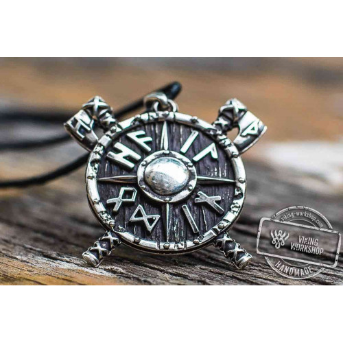 Viking Shield with Axes and Runes Sterling Silver Pendant Viking Jewelry