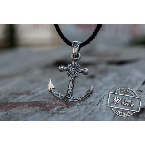Big Anchor Symbol with Ship Steering Wheel Pendant Sterling Silver Norse Jewelry