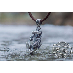Anchor with Fish Pendant Sterling Silver Unique Handmade Jewelry