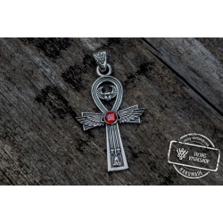 Ankh Symbol Pendant with Cubic Zirconia Sterling Silver Egypt Jewelry