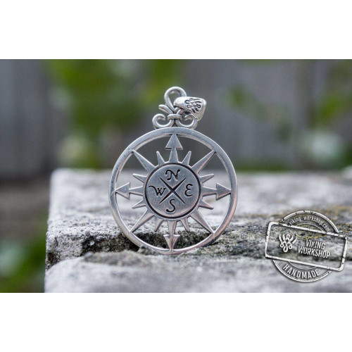 Compass Pendant Sterling Silver Handmade Unique Jewelry