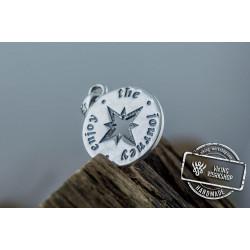 Compass Pendant Sterling Silver Unique Handmade Jewelry V03