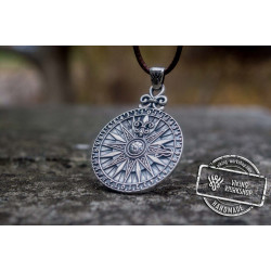 Compass with Numerical Digit Pendant Sterling Silver Viking Jewelry