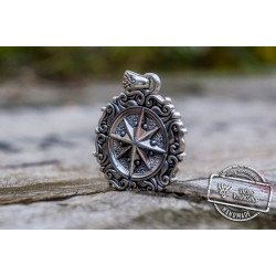 Compass Pendant with Ornament Sterling Silver Jewelry