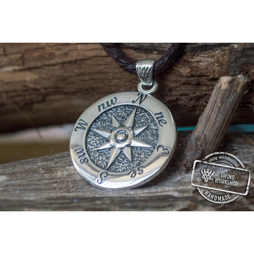 Compass Symbol Pendant Sterling Silver Norse Jewelry