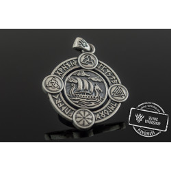 Drakkar Pendant with Norse Symbols Sterling Silver Viking Jewelry