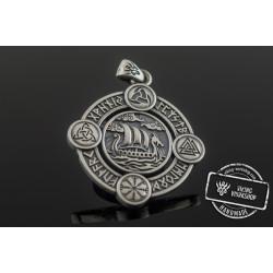 Drakkar Pendant with Norse Symbols Sterling Silver Viking Jewelry