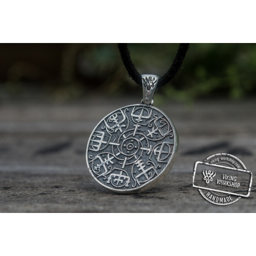 Helm of Awe Symbol Pendant Sterling Silver Norse Jewelry