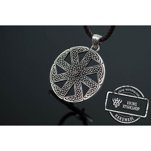 Kolovrat Symbol with Pagan Ornament Sterling Silver Pendant