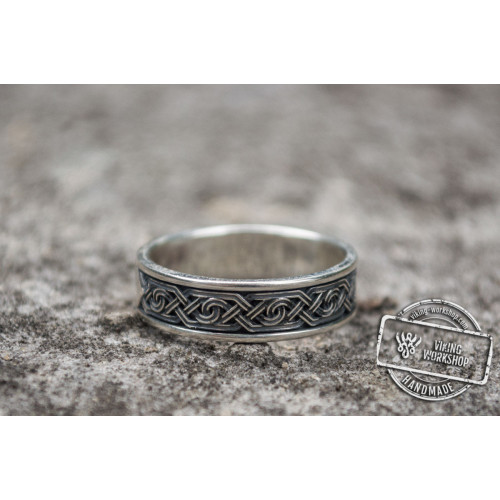 Ring with Ornament Sterling Silver Viking Jewelry