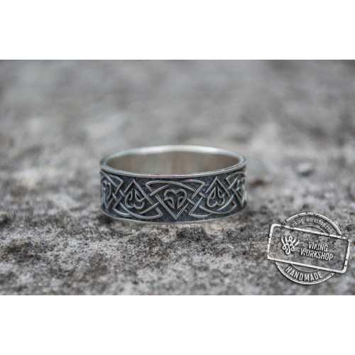 Ring with Norse Ornament Sterling Silver Viking Jewelry
