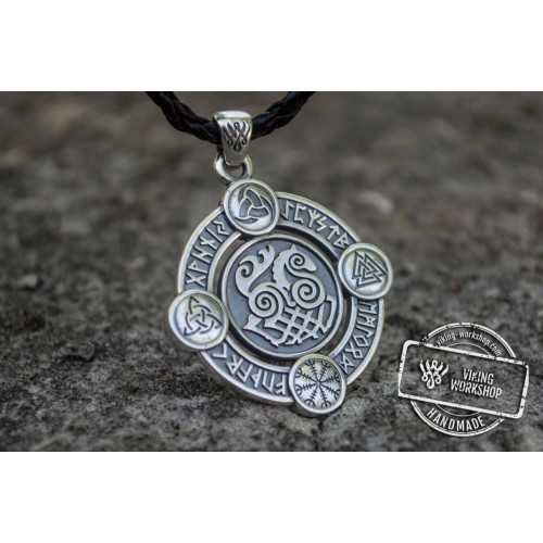 Sleipnir Pendant with Norse Symbols Sterling Silver Viking Jewelry