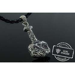 Unqiue Thor's Hammer Pendant with Norse Ornament Sterling Silver Viking Jewelry