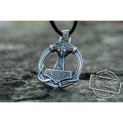 Thors Hammer Pendant with Ornament Sterling Silver Unique Handmade Jewelry