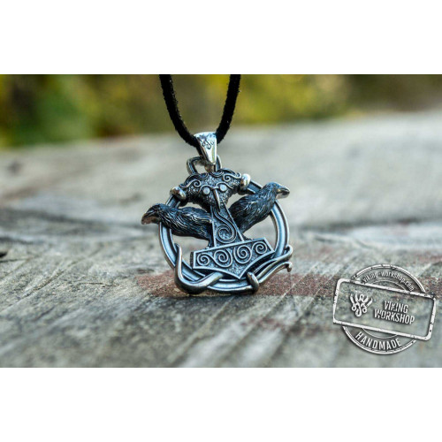 Thors Hammer with Ravens Pendant Sterling Silver Handcrafted Jewelry