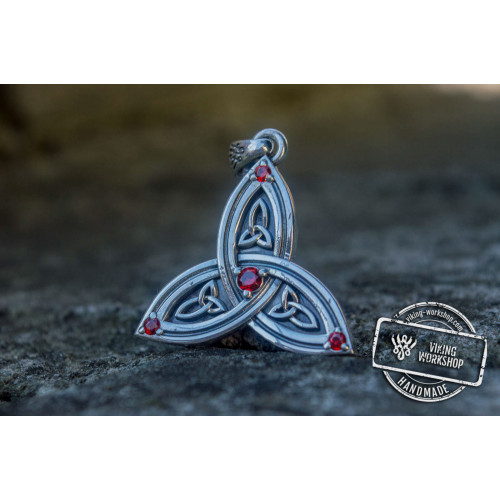 Triquetra Symbol Pendant with Red Cubic Zirconia Sterling Silver Celtic Jewelry
