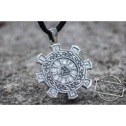Valknut Symbol with Viking Ornament Pendant Sterling Silver Unique Jewelry