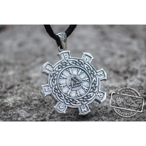 Valknut Symbol with Viking Ornament Pendant Sterling Silver Unique Jewelry