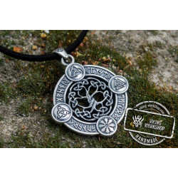 Yggdrasil The World Tree Pendant with Norse Symbols Sterling Silver Viking Jewelry