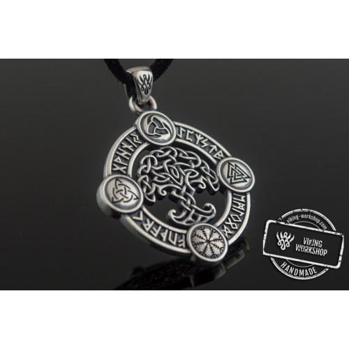 Yggdrasil Pendant with Norse Symbols Sterling Silver Viking Jewelry
