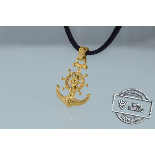 Anchor Symbol with Ship Steering Wheel Pendant Gold Handmade Jewelry