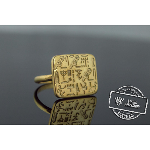 Unique Ring with Egypt Symbols Gold Jewelry