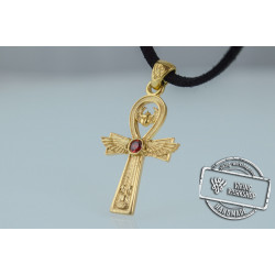 Ankh Symbol Pendant with Cubic Zirconia Gold Egypt Jewelry