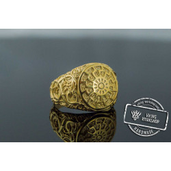 Black Sun Symbol with Urnes Style Gold Norse Ring