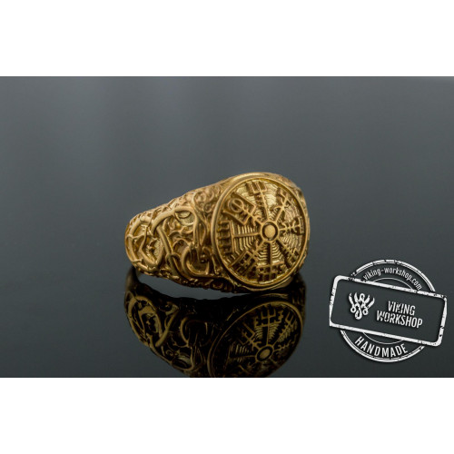 Vegvisir Symbol Ring with Urnes Style Gold Norse Jewelry