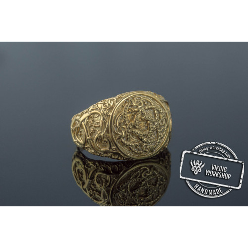 Jormungandr Symbol with Urnes Style Gold Norse Ring